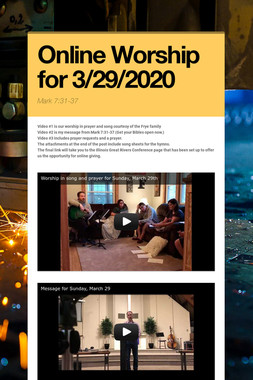 Online Worship for 3/29/2020