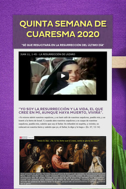 QUINTA SEMANA DE CUARESMA 2020