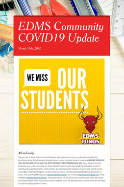 EDMS Community COVID19 Update