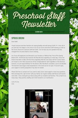 Preschool Staff Newsletter
