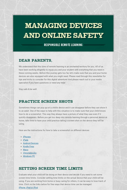Managing Devices and Online Safety