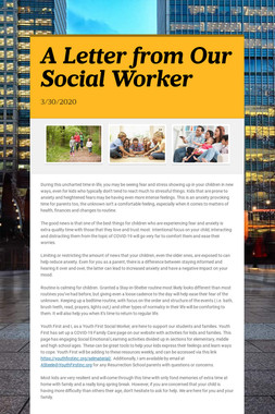 A Letter from Our Social Worker