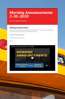 Morning Announcements 3-30-2020