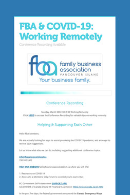 FBA & COVID-19: Working Remotely