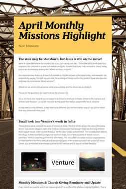 April Monthly Missions Highlight