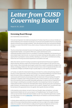 Letter from CUSD Governing Board