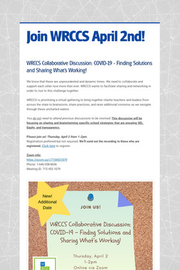 Join WRCCS April 2nd!