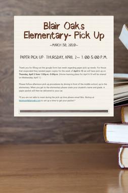 Blair Oaks Elementary- Pick Up