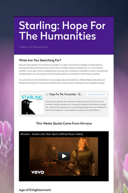 Starling: Hope For The Humanities