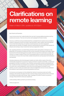 Clarifications on remote learning