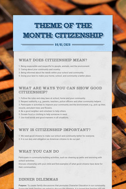 Theme of The Month: CITIZENSHIP