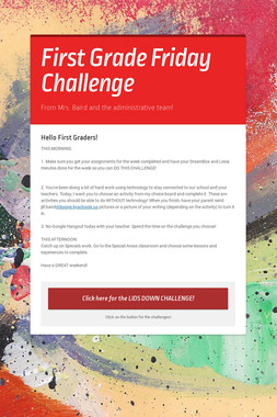 First Grade Friday Challenge