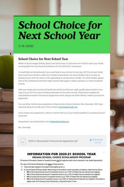 School Choice for Next School Year