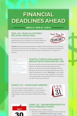 Financial Deadlines Ahead