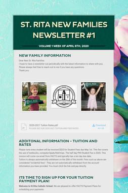 St. Rita New Families Newsletter #1