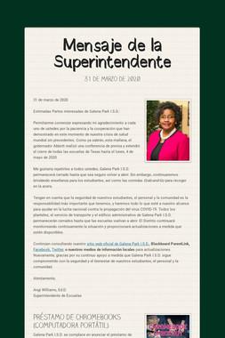 Mensaje de la Superintendente