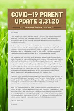 COVID-19 PARENT UPDATE 3.31.20