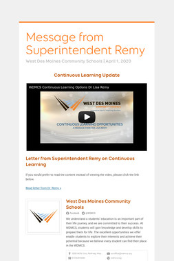 Message from Superintendent Remy