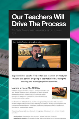 Our Teachers Will Drive The Process
