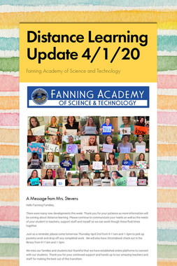 Distance Learning Update 4/1/20