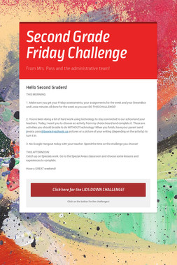 Second Grade Friday Challenge