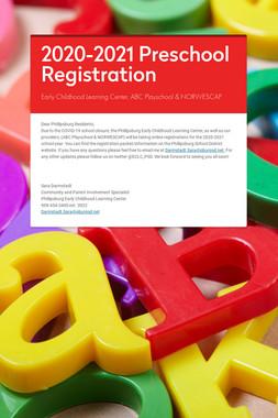 2020-2021 Preschool Registration