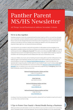 Panther Parent MS/HS Newsletter