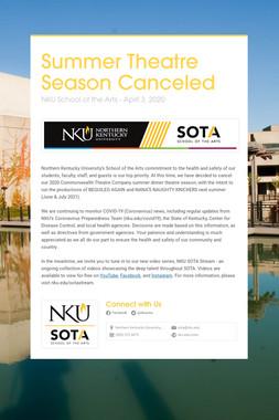 Summer Theatre Season Canceled