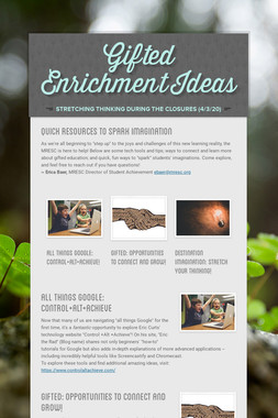 Gifted Enrichment Ideas