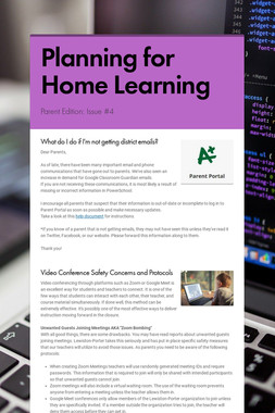 Planning for Home Learning