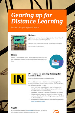 Gearing up for Distance Learning