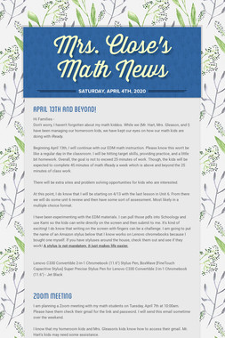 Mrs. Close's Math News