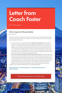 Letter from Coach Foster