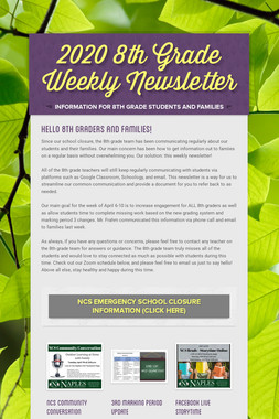 2020 8th Grade Weekly Newsletter