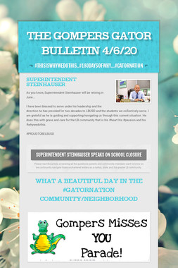 The Gompers GATOR Bulletin 4/6/20