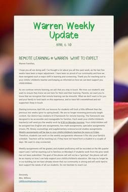 Warren Weekly Update