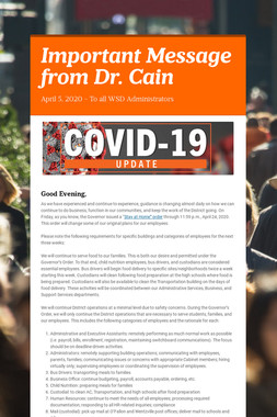 Important Message from Dr. Cain