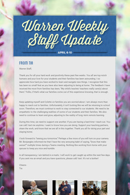 Warren Weekly Staff Update