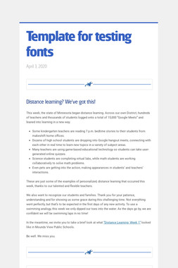 Template for testing fonts
