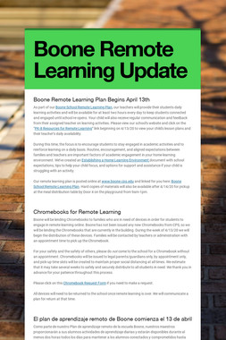 Boone Remote Learning Update