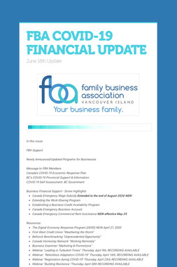 FBA COVID-19 FINANCIAL UPDATE