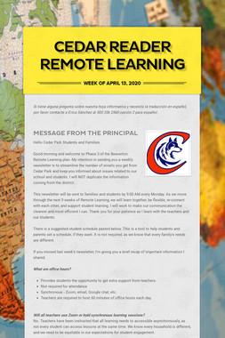 Cedar Reader Remote Learning