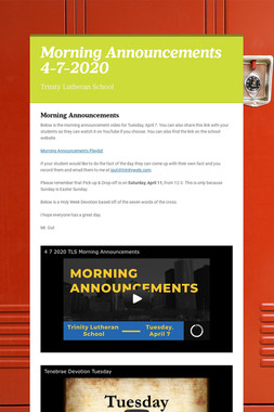 Morning Announcements 4-7-2020