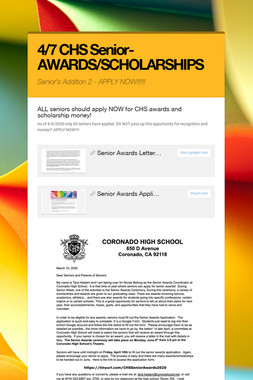 4/7 CHS Senior-AWARDS/SCHOLARSHIPS