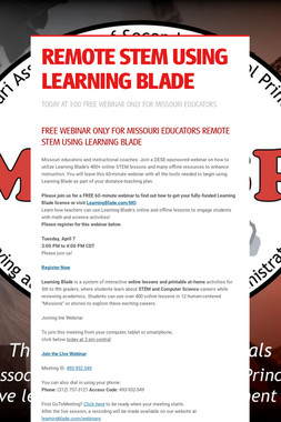 REMOTE STEM USING LEARNING BLADE