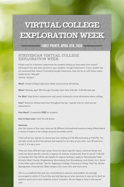Virtual College Exploration Week
