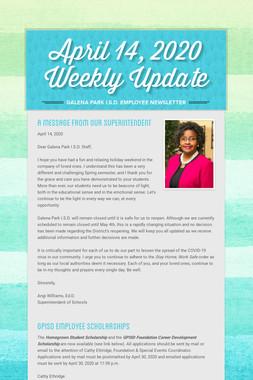 April 14, 2020    Weekly Update