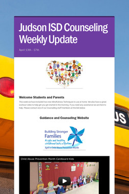Judson ISD Counseling Weekly Update