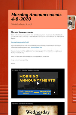 Morning Announcements 4-8-2020