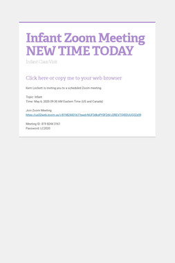 Infant Zoom Meeting NEW TIME TODAY